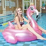 DOO - Anillo inflable de pvc con corona dorada y flamenco, flotante, flotante, para adultos y niños, inflable para piscina, verano, playa, piscina, fiesta inflable