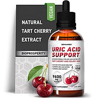Uric Acid Support - Tart Cherry Extract for Joint Health - Liquid Supplements for Uric Acid Control and Great Kidney Function - Pain Relief and Daily Joint Support  2 Fl Oz