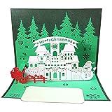 xishan Lowral 3D Pop-up Christmas Tree Tarjeta de felicitación de Papá Noel Tarjetas Postales de Navidad Año Nuevo Invitaciones con sobre Tarjetas navideñas pequeñas