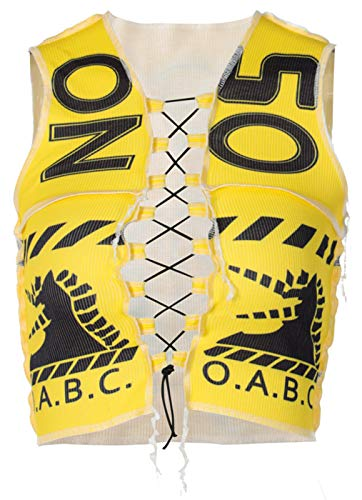 Women 's Slim Fit See Through Vest Top Y2K Fashion Spliced Lace Up Hem Crop Top Tassel Sleeveless Garment Tank Top (Yellow, M)