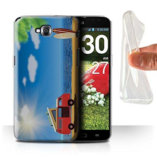 Stuff4®Phone Case/Cover/Skin/LG-gc/Hippie Hipster Art Collection Plage Ensoleillée/Surf LG G Pro Lite/D680