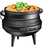 Cast Iron Pre-Seasoned Potjie African Pot With Lid, 8 Quarts With Wooden Crate, SIze 3