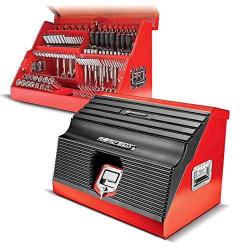 Powerbuilt 26 Inch Portable Slant Front Toolbox Tiered Stairstep Tool Holders Store Up To 154 Tools, 16 Gauge Steel, Chrome Hardware, Weather-Resistant Lockable Polymer Lid with Gas Struts - 240311