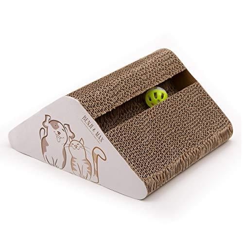 Benji & Max Tiragraffi per gatti di alta qualità, tiragraffi per gatti, in cartone ondulato e erba gatta, tagliere in cartone (tiragraffi normale)