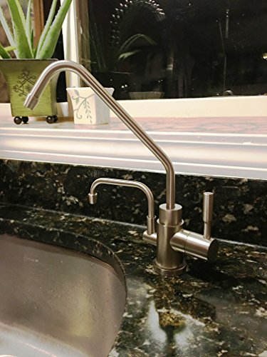 Universal Ionizer Faucet for Under Sink Installation - Brushed Nickel Finish with Installation Kit (Kit A - 3/8' Plastic Line Size, 3/8' Ionizer Fitting Size)
