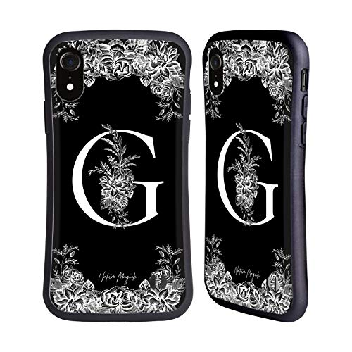Head Case Designs Oficial Nature Magick Letra G B & W Monogram Flores 1 Carcasa híbrida Compatible con Apple iPhone XR