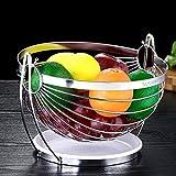 YRYBZ Cesta de Frutas,Canasta de frutas,Frutero Creativo,Plegable,Inoxidable,Como Decoración para la Cocina y Mesa de Comedor,Acero Inoxidable,Plateado