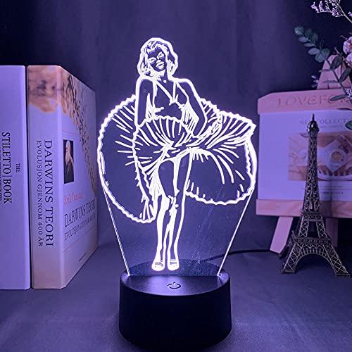Lámpara de ilusión 3D Luz de noche LED Lámpara de mesa de noche Monroe Girl Chandelier Plug-In Decoración de dormitorio Oficina en casa Restaurante Fiesta Niño Niña Regalo