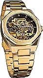 QHG Moda Tourbillon Relojes automáticos de los Hombres Transparentes Octagón único Skeleton Gold Acero Inoxidable Impermeable Mecánico Reloj de Pulsera de Lujo Regalo de Negocio