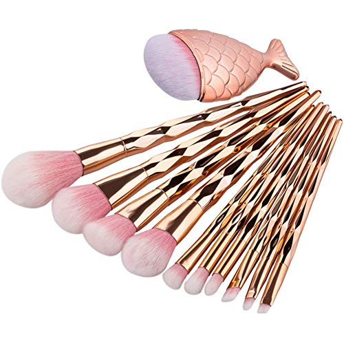 URBANMAC Diamond Handle Synthetic Fiber Makeup Brushes Set with Big Fish Tail for Foundation Eyeshadow Face Kit -10 Pieces