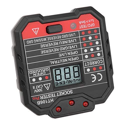 Comprobador de fallas eléctricas AC48‑250V 3 Indicadores de Prueba Toma de Corriente de plástico para Laboratorios para detectar Cables(European regulations)