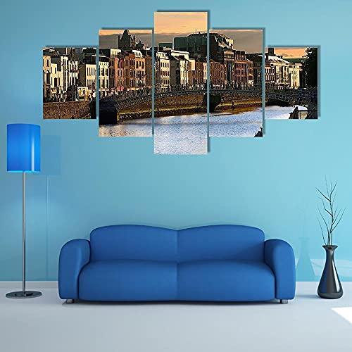 Cuadros de Lienzo, Cuadros en Lienzo, Vista de Dublín y el río Liffey al Atardecer,Vintage Pared Decoración Pintura Dormitorio Sala de Estar Baño Regalos para Familiares Amigos