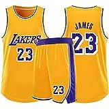 RL Lakers 23# James Col Rond Gilet De Sport Short Basketball Jersey Ensemble Deux PièCes,Homme sans Manches T-Shirt,Enfant Manche Courte,Femmes Sweat-Shirt(2XS-5X),Jaune,M(145/160CM)
