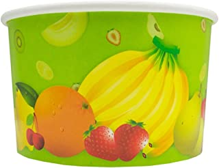 Tropical Paper Ice Cream Cups - 8 oz Fresh Fruit Dessert Bowls Perfect For Yummy Treats - Many Sizes to Make Your Party Amazing! Frozen Dessert Supplies - 100 Count