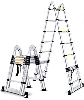 YIWU Foldable Ladder Telescopic Thicken Aluminum Alloy Engineering Ladder Lifting Portable Ladder (Size : 1.6M+1.6M)