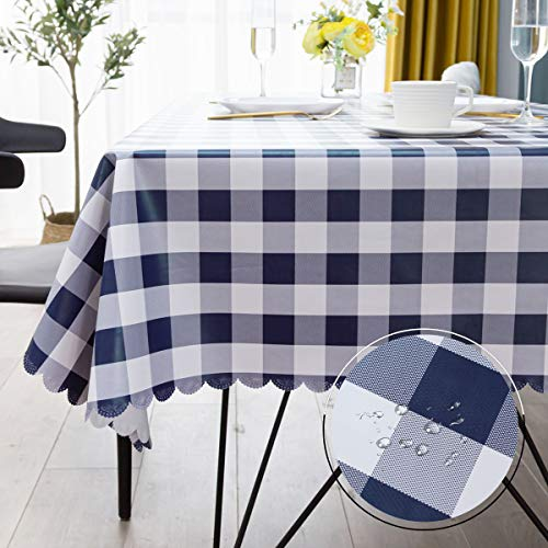 Vinyl Oilcloth Spillproof Tablecloth Rectangular Waterproof Wipeable PVC Heavy Duty Plastic Large Tablecloths for Summer Outside Camp,Patio - White and Dark Blue Buffalo Checkered 60x84 Tablecloth