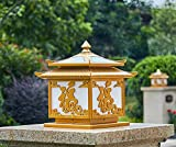 WEILAI 5W LED de Energía Solar de la columna montante de la puerta del faro poste ligero lámpara de mesa Jardín Villa al aire libre del paisaje iluminación impermeable al aire libre Columna Garden Cou
