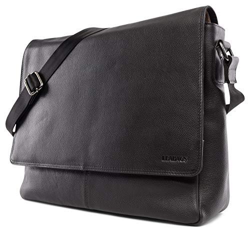 LEABAGS Oxford Umhängetasche Leder Laptoptasche 15 Zoll aus echtem Büffel-Leder im Vintage Look, (LxBxH): ca. 38x10x31 cm - OnyxSchwarz