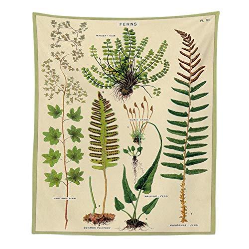KHKJ Tapiz con Estampado de Mariposas Florales Plantas Tropicales Antiguas Hoja Atlas Alfombra Manta Colgante de Pared decoración de Dormitorio de Pared A7 200x180cm
