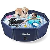 Yerloa Hundepool für Große & Kleine Hunde Haustierpool Planschbecken Faltbare Swimmingpool für die Haustier wie Hunde, Katzen, 120 * 30cm 100% Sicher & Umweltfreundlich PVC Hundepool