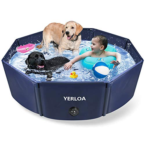 Yerloa Foldable Dog Pool, 48' Extra Large Pet Swimming Pool Collapsible Dog Pet Pool Bathing Tub Kiddie Pool for Large Small Dogs, XL/L.