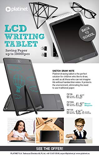 'Platinet Mousepad 44777- Tablet LCD con Escritura (12''), Color Negro'