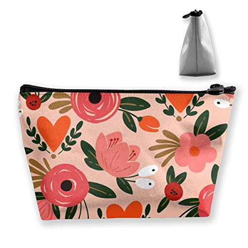Beauty Floral Pattern with Roses, Leaves and Heart Artist Storage Bag with Adjustable for Cosmetics Makeup Brushes Toiletry