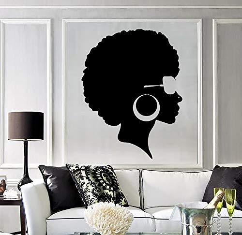 mlpnko Mode Schwarze Wandaufkleber Dame Frisur afrikanische Frau Wandmalerei Vinyl Wandtattoo Salon Dekoration,CJX12697-28x36cm