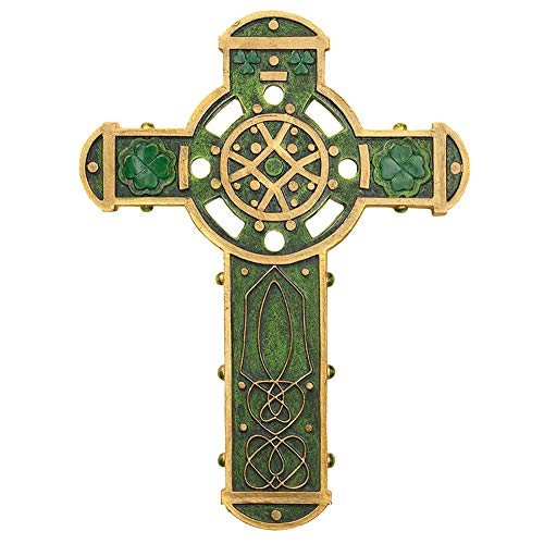 Elysian Gift Shop Irish Green with Gold Accents Celtic Wall Cross with Shamrock and Celtic Knot Designs (9 Inch)
