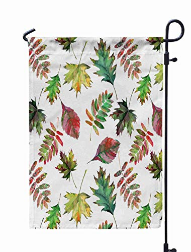 UIJDIAm Welcome Garden Flag Home Yard Decorative 12X18 Inches Beautiful Lovely Cute Wonderful Graphic Bright Floral Herbal Autumn Red Orange Green Yellow Double Sided Seasonal Garden Flags,White Gray