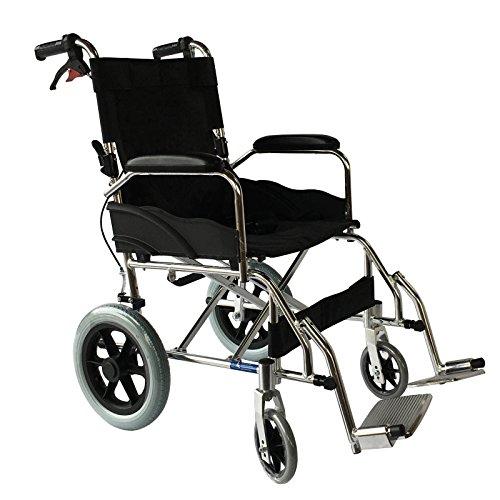 Leichter, zusammenklappbarer Rollstuhl aus Aluminium, tragbarer Transportstuhl. Unter 9 kg, Vollaluminium, 120 kg Benutzergewicht. - - -