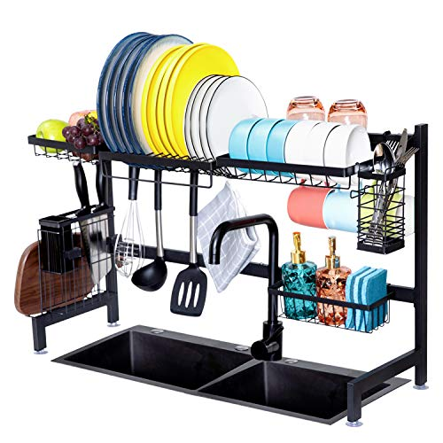 Simflag Over The Sink Dish Drying Rack Stainless Steel Dish Rack Over Sink Shelf Dish Drainer for Kitchen Organizer Storage Rack with Utensils Holder 8 Hooks Non- Slip Black (Sink Size ≤ 31.8 inch)
