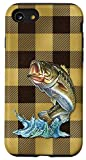 iPhone SE (2020) / 7 / 8 Yellow Plaid Large Mouth Bass Fishing Dad Jumping Gear Idea Case