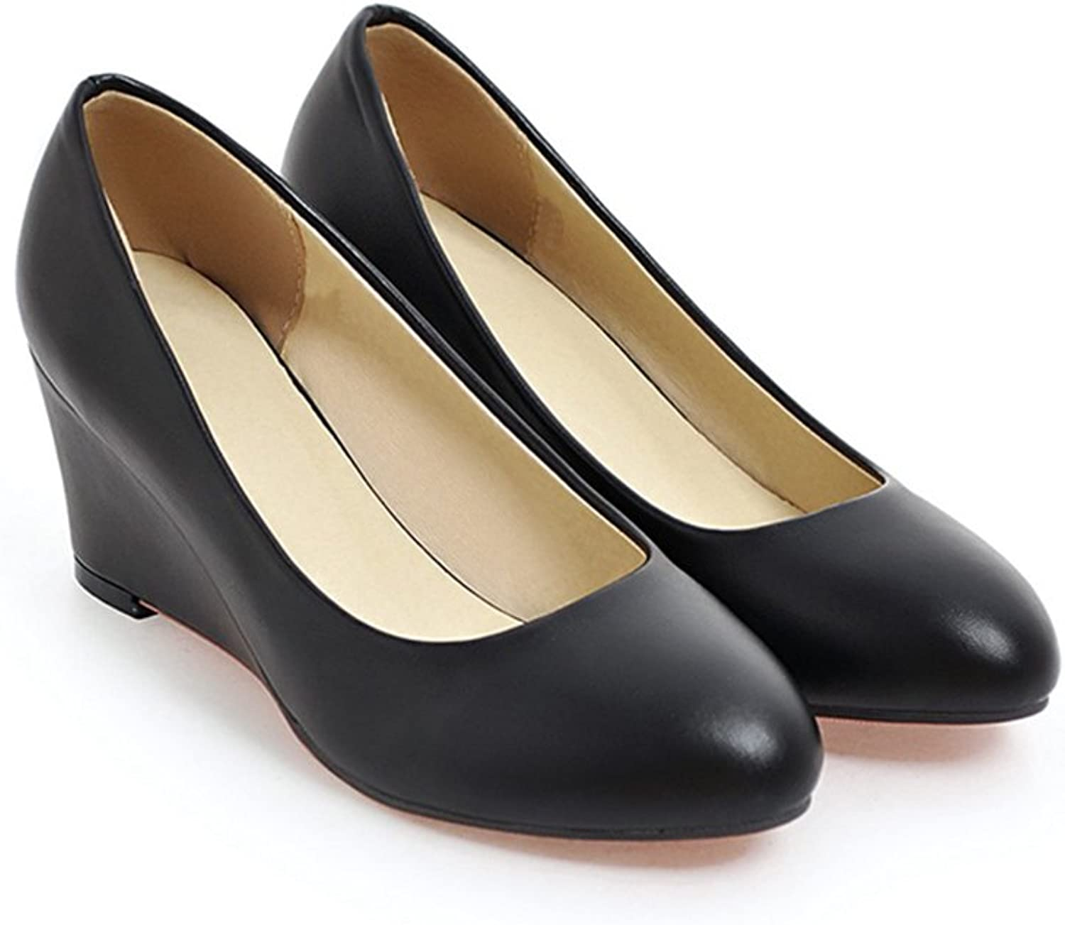 YUBIN Summer Pointed Single shoes Female Korean High-Heeled shoes Slope with Work shoes Size Code Nurse Pregnant Women shoes Casual shoes (color   Black, Size   38)