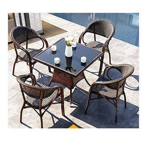 HLZY Conjunto de Muebles de Patio y Silla de Mimbre Rattan, Muebles de Patio Mesa de jardín y...