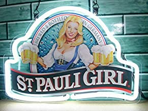 "Queen Sense 14""x10"" St. Pauli Girl Neon Sign Light Beer Bar Pub Man Cave Real Glass Lamp DE71"