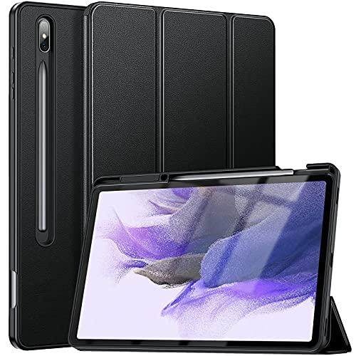 ZtotopCases Hülle für Samsung Galaxy Tab S7 FE/S7+ Plus 12.4,Ultra Schlank Soft TPU Rückseite Abdeckung Schutzhülle mit S Pen Stifthalter,Auto Schlaf/Aufwach für Samsung S7 FE/S7 Plus Tablet, Schwarz