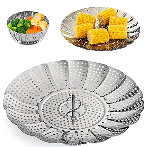 Collapsible Vegetable Steamer - Stainless Steel Basket for Instant Steam Pot for Veggie Fish Seafood Perforated Folding Steamers Insert Rack Metal Adjustable Tray Expandable Bowl for Food Cooking