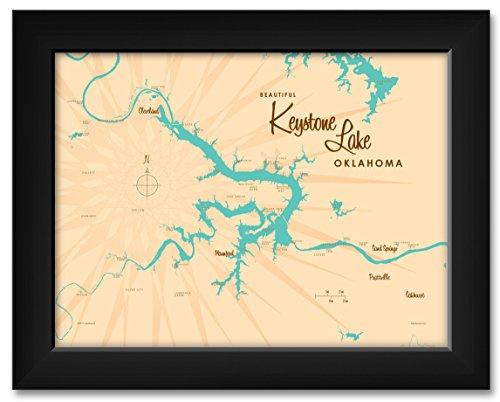 Keystone Lake Oklahoma Map Professionally Framed Art Print by Lakebound Framed Art Size: 11' x 14'