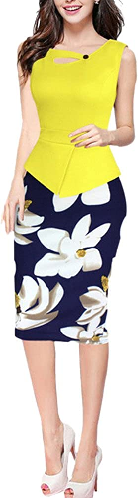 BAIMIL Womens Sleeveless Floral Stitching OL Commuter Pencil Business Dress