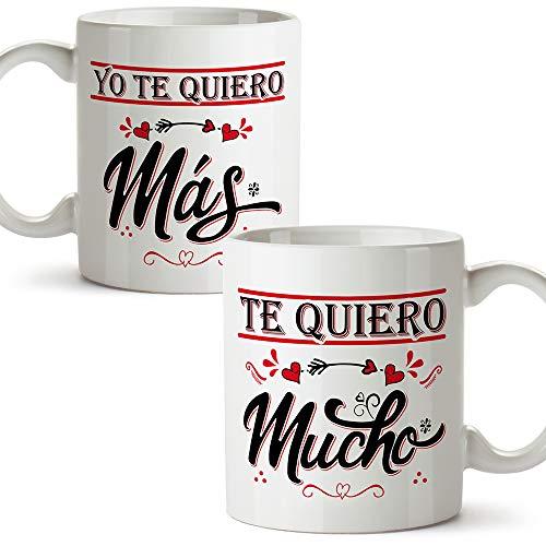 MUGFFINS Taza San Valentín (Te quiero) - te quiero mucho/mas - Regalos...
