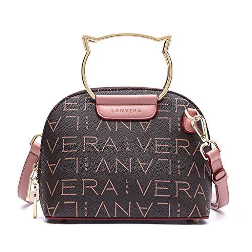 MWY Bolso Mensajero Para Mujer, Estampado de Moda, Bolso de Cuero Rosa