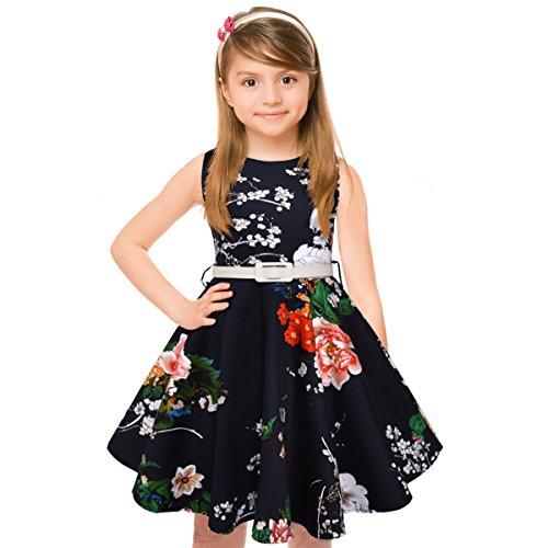 HBBMagic Maedchen Audrey 1950er Vintage Baumwolle Kleid Hepburn Stil Kleid Blumen Kleid Tupfen Kleid, Marine-blumenstrauß, 9-10 Jahre/135-142CM