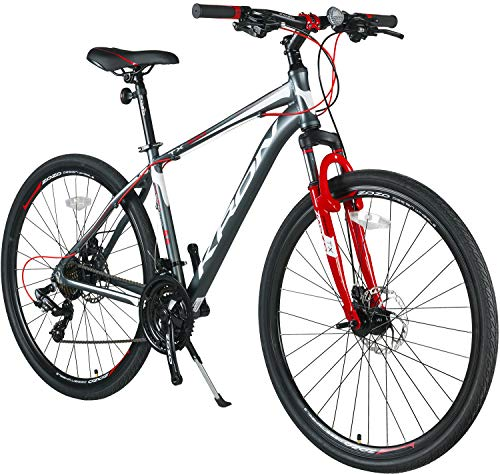 KRON TX-100 Aluminium Mountainbike 28 Zoll | 21 Gang Shimano Kettenschaltung mit Scheibenbremse | 18 Zoll Rahmen MTB Erwachsenen- und Jugendfahrrad | Grau Rot