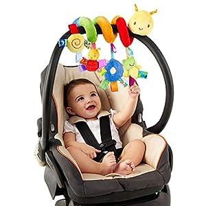 jojofuny Sonajeros para bebé, cuna de bebé, juguete con timbre, timbre para coche, juguetes de actividad para niños, en espiral, juguetes de peluche para cochecito, accesorios para bar