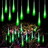 Allnice Meteor Shower Lights Falling Rain Lights Christmas Lights 30cm 8 Tube 192 LEDs Fairy String Lights for Halloween Christmas Wedding Tree Garden Home Outdoor Decoration (Green)