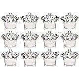 Yantan 12 cajas de dulces de plástico con corona, decoración de fiesta, transparente, corona de plástico rellenable, caja de regalo para dulces, decoración de mesa, transparente