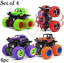 SaleOn™ Unbreakable 4pc 4WD Mini Monster Trucks Friction Powered Cars for Kids Big Rubber Tires Baby Boys Super Cars Blaze Truck Children Gift Toys Mini Rock Crawler (Set of 4)
