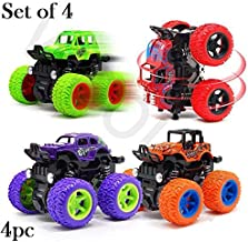 SaleOn™ Unbreakable 4pc 4WD Mini Monster Trucks Friction Powered Cars for Kids Big Rubber Tires Baby Boys Super Cars Blaze Truck Children Gift Toys Mini Rock Crawler (Set of 4)