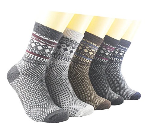 5 Pack Womens Wool Socks Winter Warm Vintage Thick Knit Wool Cozy Crew Socks Gifts